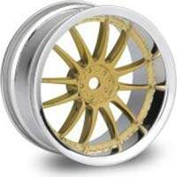 RODA XSA 02C 26mm (CROMO/DOURADO) PARA AUTOMODELO ON-ROAD OFFSET 3mm HPI